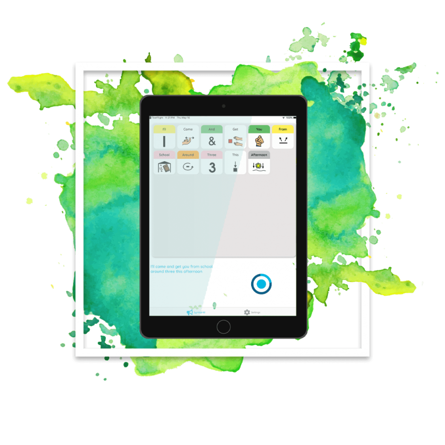 device with watercolor bg- logo splatter